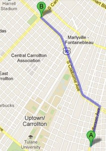 route from freret and jefferson to claiborne and carrollton copy for real