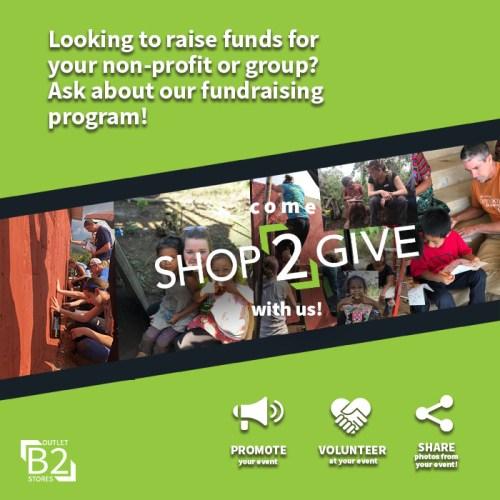 Shop2Give, B2 Outlet Stores, Donation Program For Non-Profits
