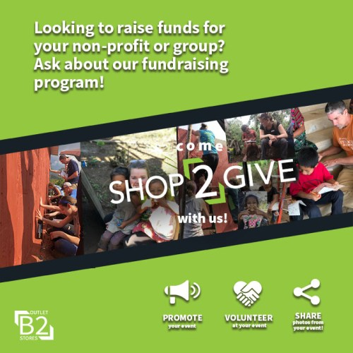 Shop2Give, B2 Outlet Stores, Donation Program For Non-Profits