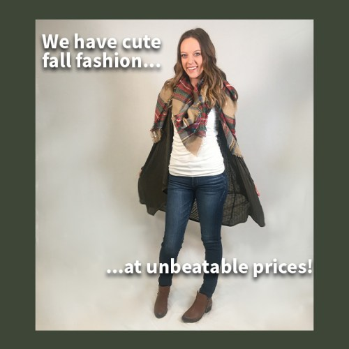 fall clothing, girl modeling scarf, boots, jeans, sweater/cardigan