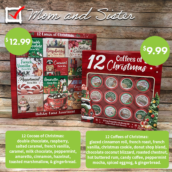 Hot chocolate and coffee k cups Christmas flavors