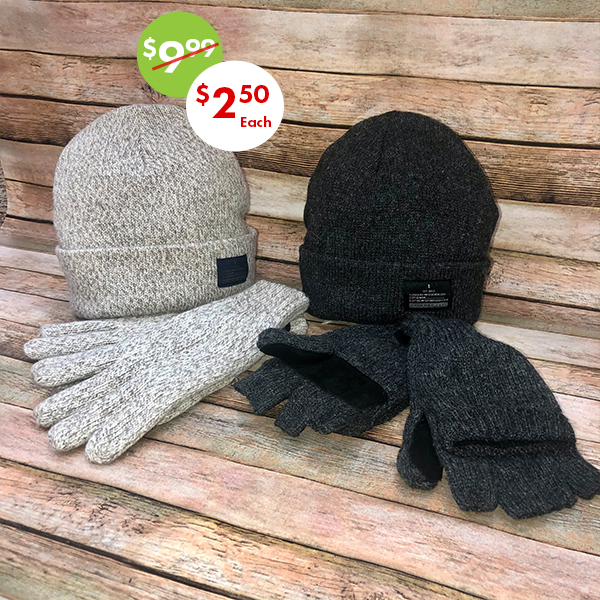 gloves and hats 75% off sale