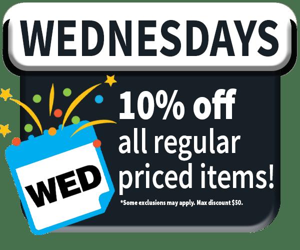 Reward member Wednesday 10% off