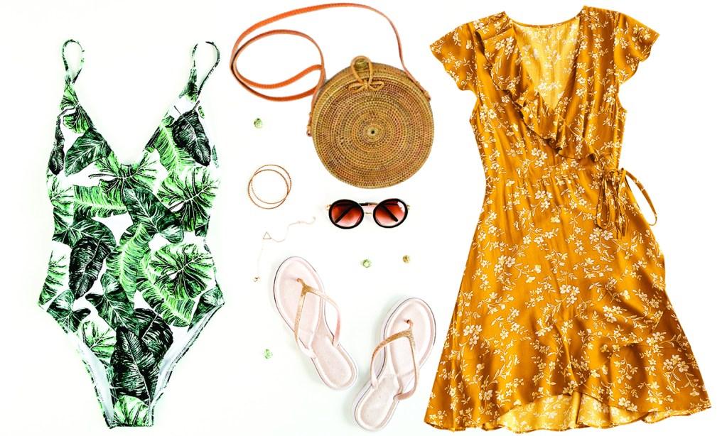women's clothing, dresses, sandals, purses, sunglasses, jewelry, swimwear