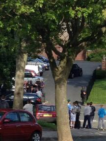 The scene in a Brandhall street after armed police arrested a 28 year old murder suspect | image by Kaz Russell