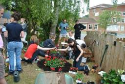 Sixth form students working on their memorial garden