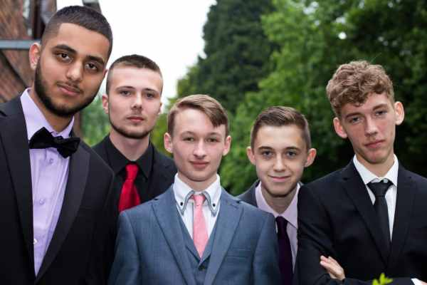 Year 11 boys pose for a photograph at their leavers' prom. Left to right: Sufiyan, Layton, Brandon, Paul and Harrison