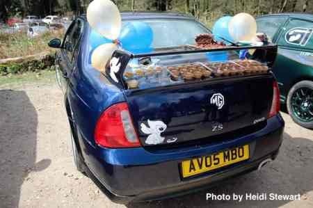 Heidi Stewart turned Stitch the ZS car into a cake stand at the Lickey Hills to celebrate Anthony Adams 30th birthday.