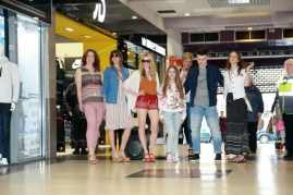 Models at Fashion on the move flash mob shoppers