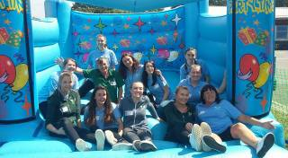 Fairytale Party Planners staff with Morrisons Rubery Community Champion Jane Williams