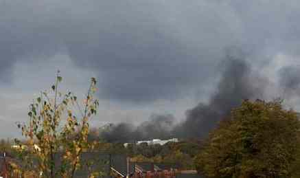 Black smoke billowing from the MG Motor factory at around midday [©Anon]