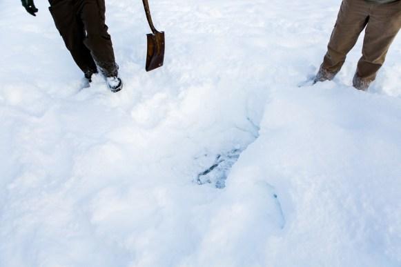 Debajo de una capa de nieve de hasta un metro, está la corteza de hielo de hasta 3 de grueso.