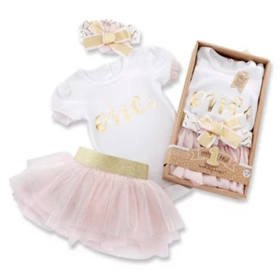 Baby Aspen 12 18m My First Birthday 3 Piece Tutu Outfit In Pink Bed Bath And Beyond Canada