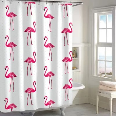 flamingo shower curtain in pink bed