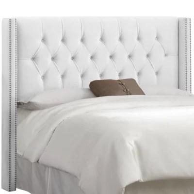 white diamond tufted headboard bed