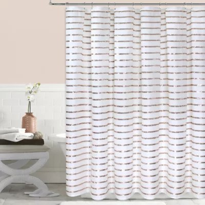 colordrift sequin stripe shower curtain in gold bed bath beyond