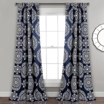 navy blue curtain panels bed bath