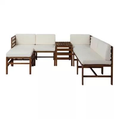 7 piece modular acacia wood patio