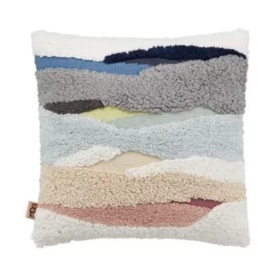 ugg mountain peak sherpa throw pillow in seal grey