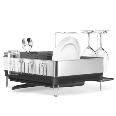 steel frame dish rack with wine glass