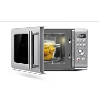 breville the compact wave soft close microwave in silver
