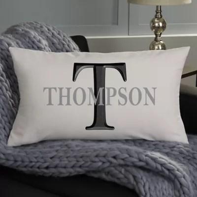 monogram personalized lumbar throw pillow