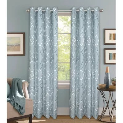 Bastille Lattice Grommet 100 Blackout Window Curtain Panel Bed