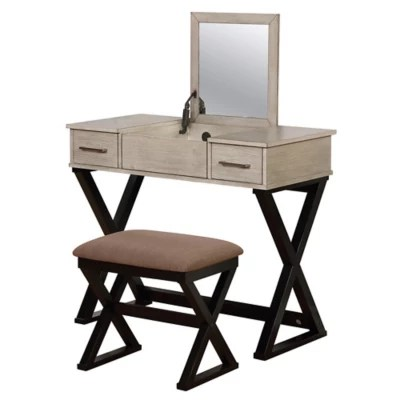 linon home 2 piece alexis vanity set in grey