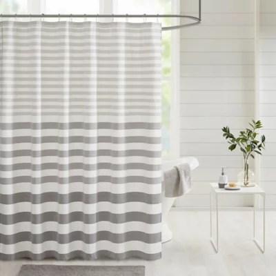 grey stripe shower curtain bed bath
