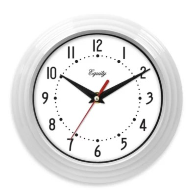 Equity By La Crosse White Ribbed Equity Analog Wall Clock