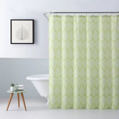 blue and green shower curtains bed