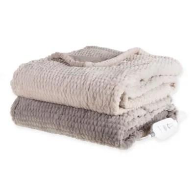 brookstone n a p heated faux fur throw bed bath beyond