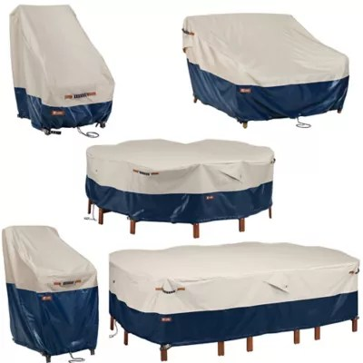 patio furniture cover collection in fog