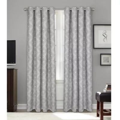 colordrift colordrift bastille geometric 95 inch grommet blackout window curtain panel in platinum from bed bath beyond canada daily mail
