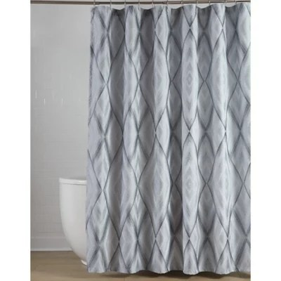 blue and grey shower curtains bed