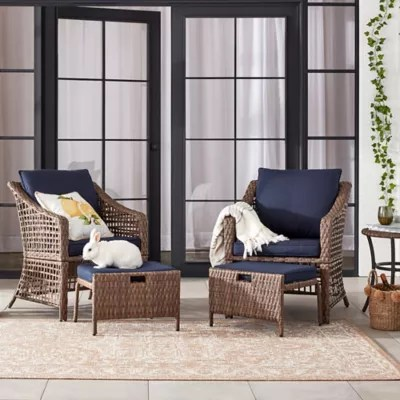 bee willow home 5 piece all weather wicker patio conversation set in brown navy