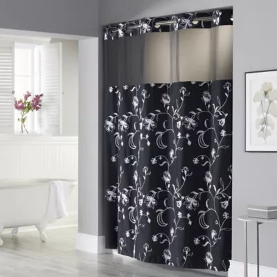 hookless 71 inch x 74 inch fiona shower curtain and liner in black and white bed bath beyond