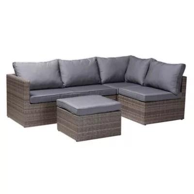 baxton studio denise 4 piece woven rattan outdoor patio furniture set in grey