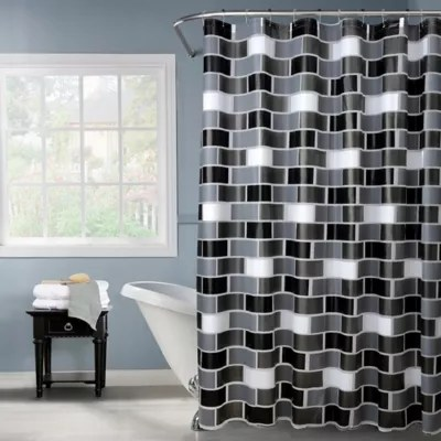 bath bliss brick design shower curtain