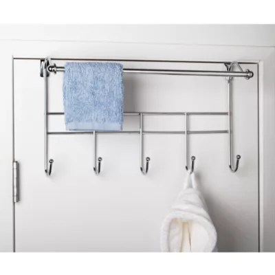 over the door hook rack with towel bar
