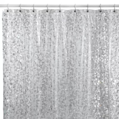 clear plastic shower curtains bed