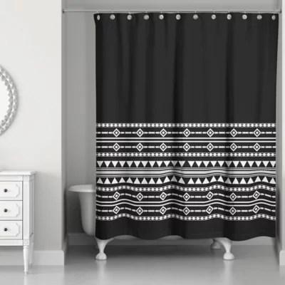 black white grey shower curtain