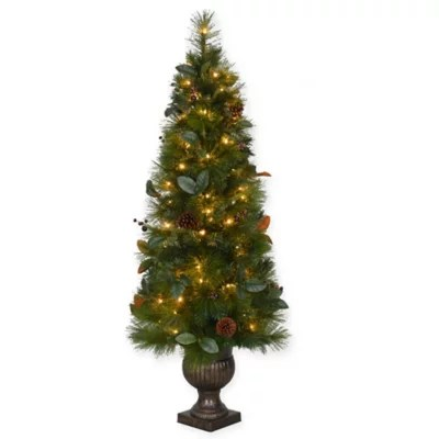 5 Foot Pre Lit Magnolia Pot Tree With Clear Lights Bed