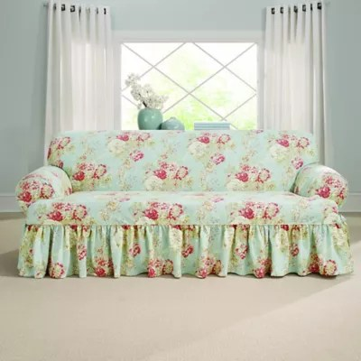 sure fit ballad bouquet by waverly t cushion sofa slipcover in crimson