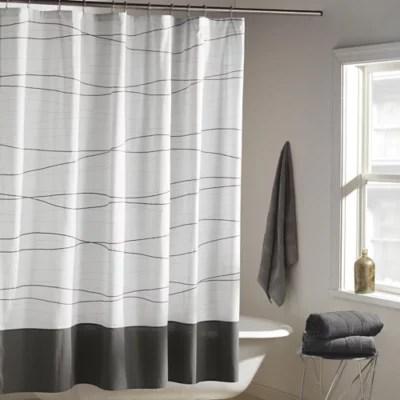 dkny wavelength shower curtain in grey