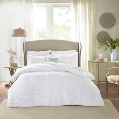 white textured comforter bed bath