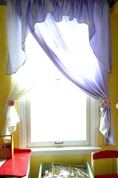 Sewn Purple Curtains With Painted Tiebacks