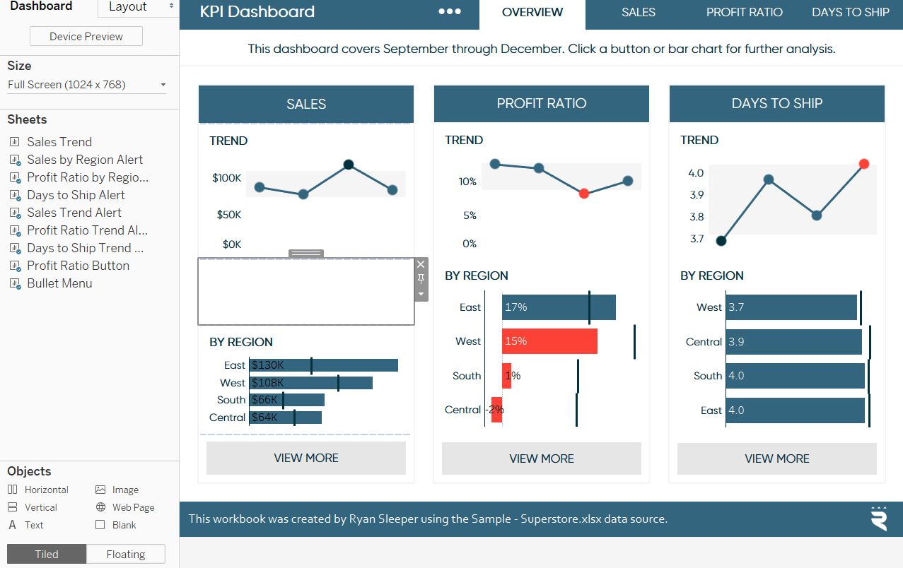 Adding A Blank Object To A Tableau Dashboard