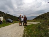 Me and Cliff with Freddie. As we were about to leave he invited us into his caravan and made us sweet mountain tea and a feast of yoghurt, cheese, bread and jam to fuel us to Greece.
