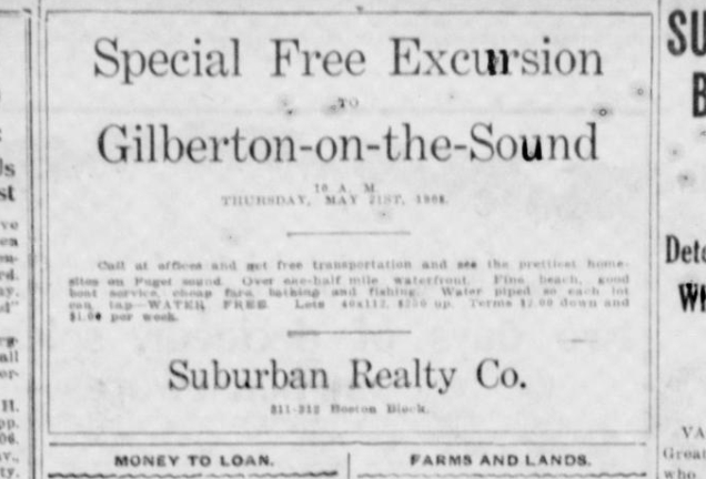 Advertisement from the Seattle Star for May 21, 1908 trip to see beachfront lots at Gilberton.